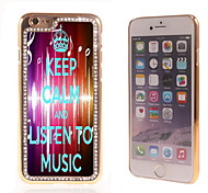Listen To Music Design Luxury Hybrid Bling Glitter Sparkle With Crystal Rhinestone Case for iPhone 6