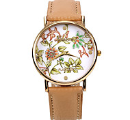 fleurs de couleur femmes PU bande de montre-bracelet en cuir (kaki) (1pcs) (b)