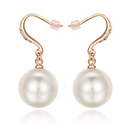 HKTC Concise Jewelry 18k Rose Gold Plated Big White Simulated Pearl Wedding Dangle Earrings