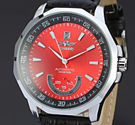 les hommes avec la montre calendrier disque mécanique automatique en cuir PU (de couleurs assorties)