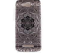 Large Black Flower Design TPU Soft Case for Alcatel One Touch Pop C7