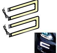Merdia 2PCS 2W 50LM 4000-6000K COB U Type White /Blue Light Car Strip Light / Daytime Running Light (Wire Length54CM)