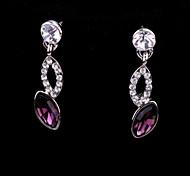 Fashion Jewelry Rhinestone Drop Earrings with Oval Crystal