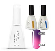 Azure 3 Pcs/Lot Nail Gel Polish Temperature Changing Color  Soak Off Nail Art UV Gel Polish(#8+BASE+TOP)