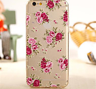 Chinese rose Pattern TPU Soft Cover for iPhone 6
