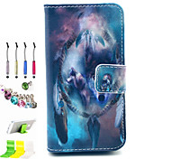 Wolf Pattern PU All Inclusive With Slot Case and Stylus Pen Dust Plug Bracket Assembly for iPhone 4/4S