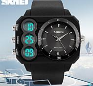 skmei® design sportif double fuseau horaire bande de montre cas de carré d'affichage de caoutchouc poignet pour hommes