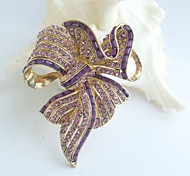 Women Accessories Gold-tone Purple Rhinestone Crystal Bowknot Brooch Art Deco Crystal Sash Brooch Women Jewelry