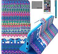 Coco fun® elefante azul padrão tribal estojo de couro pu com protetor de tela e cabo USB e caneta para Iphone 6