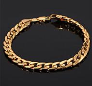 U7® Men's 18K Chunky Gold Filled Figaro Cuban Chain Bracelet 7MM 21CM