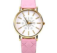 einfache Schneeflocke-PU-Leder-Band-Armbanduhr (pink) (1pcs)