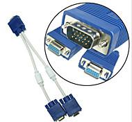 vga macho a hembra 2 SVGA VGA vga cable de extensión de cable divisor de audio y divisor de bucle magnético w / doble