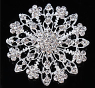 Vintage Women Clear Crystal Leaf Wedding Brooch