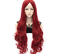 80cm U Party Curly Cosplay Party Wig Multi colors available Wine Red