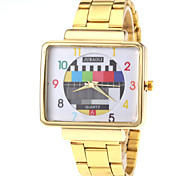 padrão de tv unisex caso de ouro quadrado relógio de pulso de quartzo banda de aço