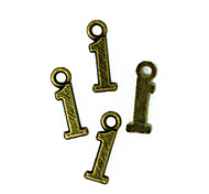Beadia 100PCS Antique Bronze Alloy Charms 4x15mm Number 1 Pendants DIY Accessories