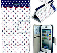 Mini Anchor Pattern with Card Bag Full Body Case for iPhone 4/4S