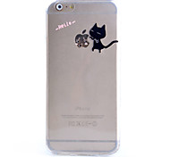 slim transparent black cat pattern weiches Telefonkasten für iphone 6 Plus