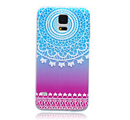 White Flower with Color-Base Pattern Ultrathin TPU Soft Back Cover Case for Samsung Galaxy S5 I9600