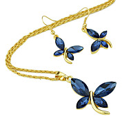Costume Beautiful Imitation Crystal Butterfly Pendant Fashion Jewelry Set