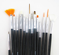 15PCS Black Handle Nail Art Design Painting Drawing Pen Brush Set&5PCS 2-way Dotting Marbleizing Pen Tool