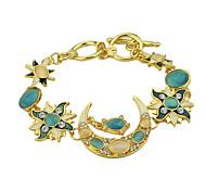 New Model Cheap Colored Rhinestone Moon Star And Sun Charm Bracelet Jewelry