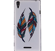 Two Feather Patterns TPU Soft Case for Sony Xperia T3