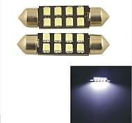 2pcs carking ™ feston 36mm / 39mm 0.84w 8 * 2835smd 80ml 6000k lumière blanche lampe led rome (12V DC)