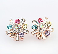 Hot Sale For 2015 Free Shipping Cute Style Multicolor Flower Resin Crystal Earrings For Women