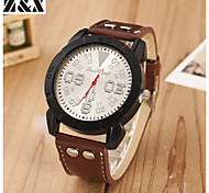 Men's Fashion Big Dial Quartz Analog Leather Band Leisure Wrist Watch(Assorted Colors)
