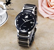 Men's stainless steel and Ceramic watch with Japanese quartz and water resistant