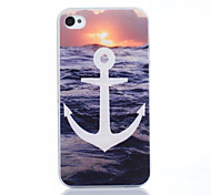 White Anchors Pattern TPU Material Phone Case for iPhone 4/4S