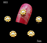 003 10pcs/lot 5mm 3D Nail Art Golden Metal Alloy Golden Pearls Beads for Fashion Women DIY Nail Bags Decor Case