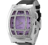 Frauen Damen Mode Leder Kristalle natürliche Uhr