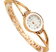 Women's Diamond Decor Gold Steel Band Quartz Bracelet  Wrist Watch