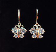 Women's Fashion Gold Filled Butterfly Shaped CZ Stone Dangle Earring