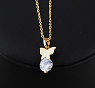 Women's 18K Gold Plated Elegant Beauty Butterfly Crystal Necklaces