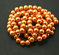 Beadia 2 Str(approx 230pcs) Glass Beads 8mm Round Imitation Pearl Beads Orange Color DIY Spacer Loose Beads
