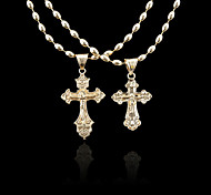 18K Russia 585 Golden Plated Rose Color Jesus Cross Pendant 2.2*4.2CM/2*3.6CM