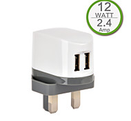 CE Certified Dual USB Wall Charger, UK Plug,5V 2.4A output, for iPhone 5 iPhone 6/Plus, iPad Air, iPad Mini, iPad4