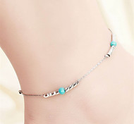 Vilam® Hot Girl Ankle Bracelet Bead Chain Silver Charm Torquise Color Beads Anklet Foot Jewelry