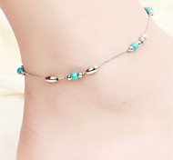 Vilam® Hot Girl Ankle Bracelet Bead Chain Silver Smooth Beads Torquise Color Beads Anklet Foot Jewelry
