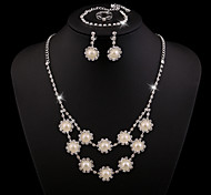 Z&X® Alloy Fashion Rhinestone/Pearl Flower Jewelry Set Party/Wedding 1set(Including Necklaces/Bracelets/Earrings/Rings)