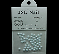 Pearl4mm 50pcs/lot White Color Half Round Pearls 4mm Imported Pearls Nail Decorations Wheel Rhinestones
