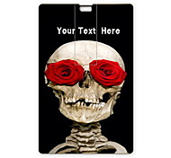 Personalized USB Flash Drive Skull and Rose Design 64GB Card USB Flash Drive