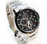 Men's New Round Design Fashion Dial PC Movement Steel Strap Life Waterproof Quartz  Watch (Assorted Colors)