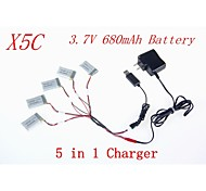 5pcs 3.7V 680mAh Battery with 1 to 5 USB Charger Cable Adapter Parts for Syma X5C X5 X5SC RC Quadcopter