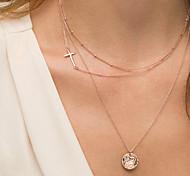 Sideways Cross Necklace Women's Simple Cross Zircon Pendant Three Layers Chain Necklace