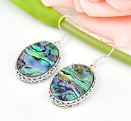 Superb Friend Gift Oval Fire Natural Abalone Shell Gem 925 Silver Drop Earrings For Wedding Party Daily Holiday 1Pairs
