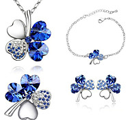 Z&X® Alloy Austria Crystal Clover Jewelry Set Party/Daily 1set(Including Necklaces/Earrings/Bracelets)